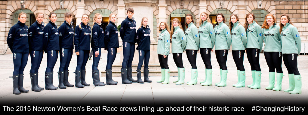 The 2015 Newton Women's Boat Race crews lining up ahead of their historic race #ChangingHistory